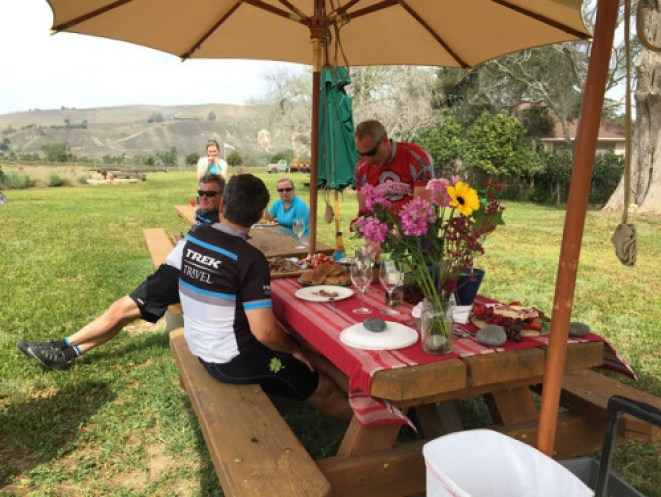 Trek Travel bike vacation review Sanford picnic table