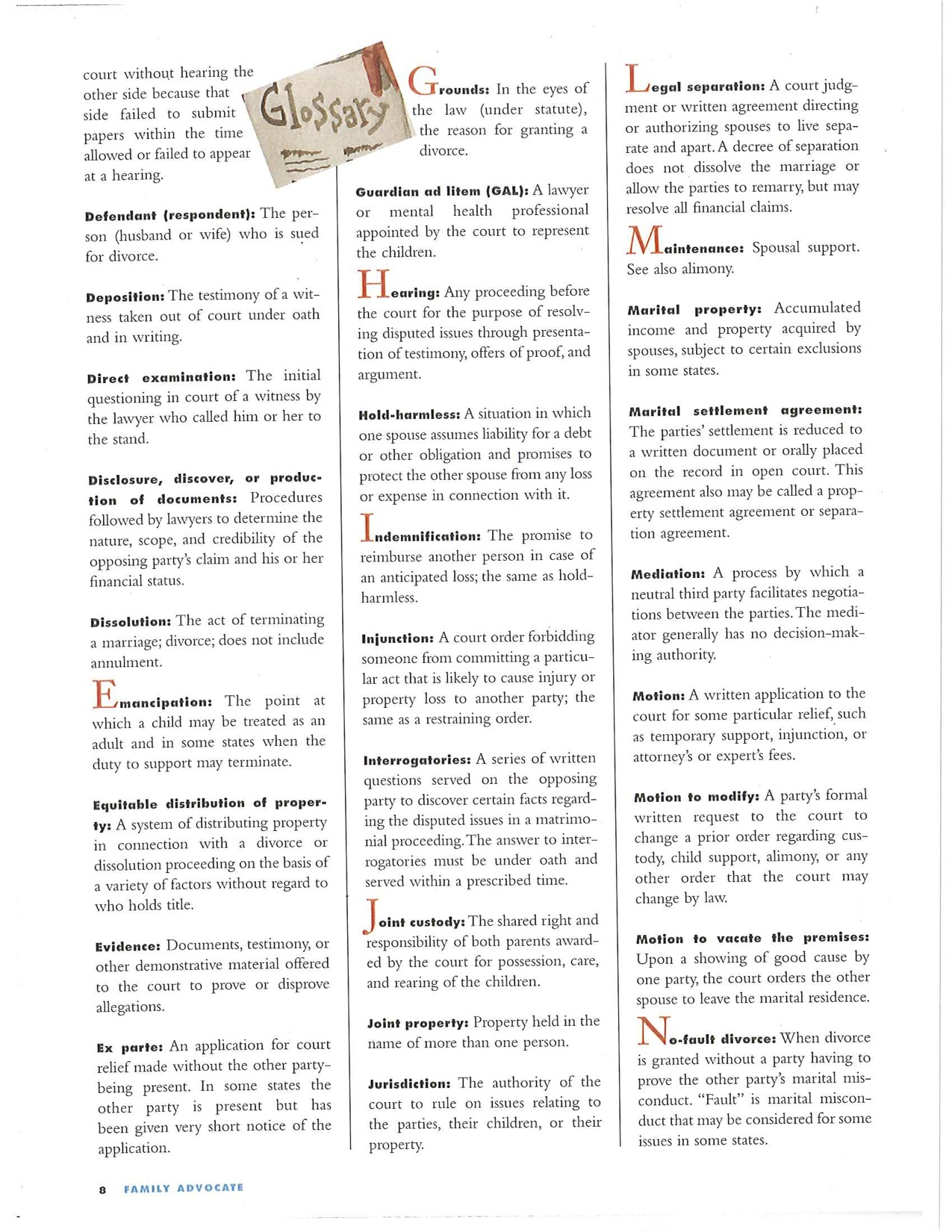 Glossary of legal divorce terms page 2