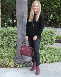 burgundy boots fall season wear with all black