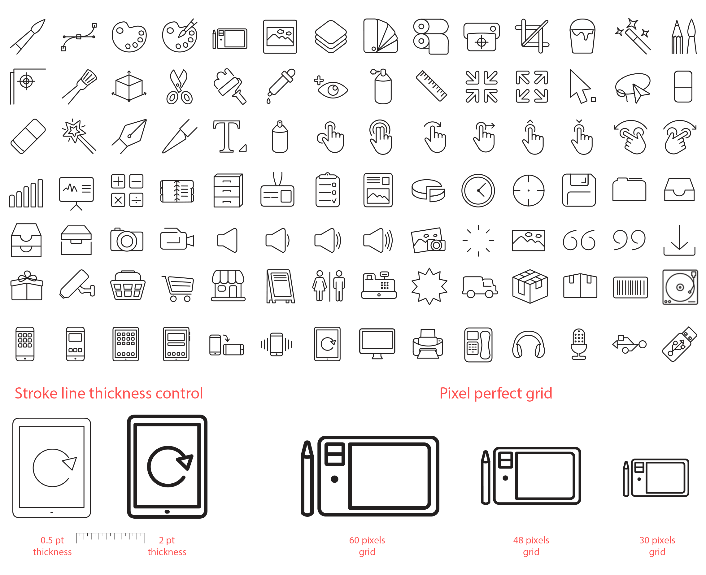 iOS 8 line icons set