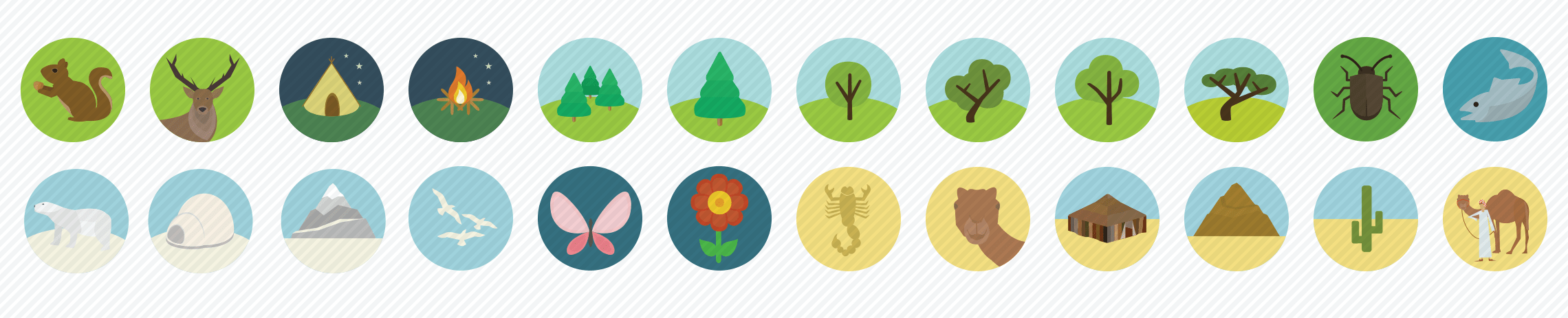 nature flat icons set