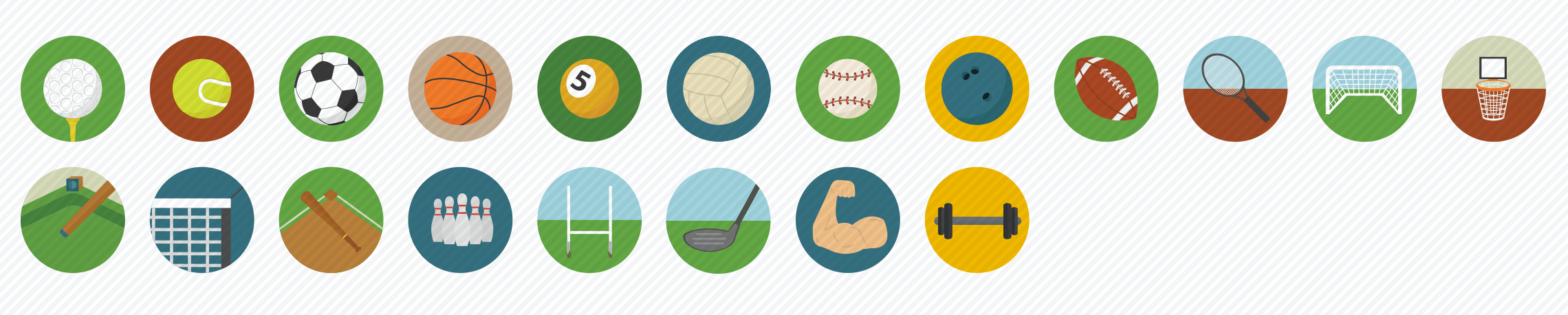 sports-flat-icons-set