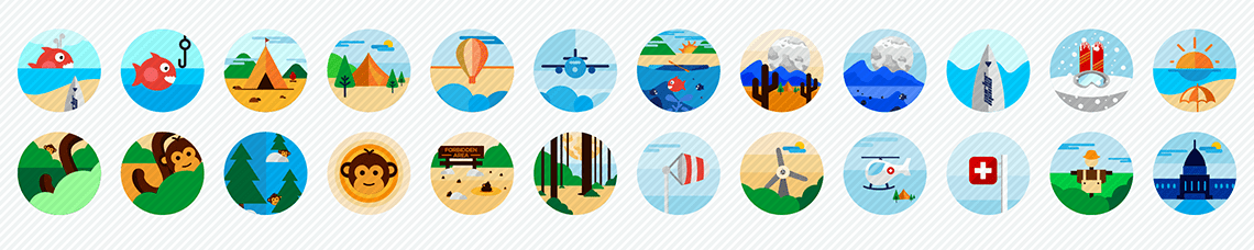 vacation spots flat icons set