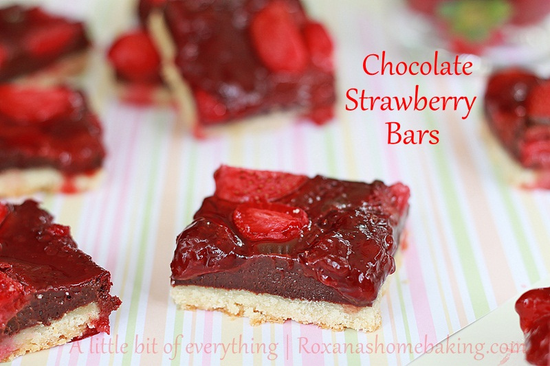 Chocolate fudge roasted strawberry cookie bars