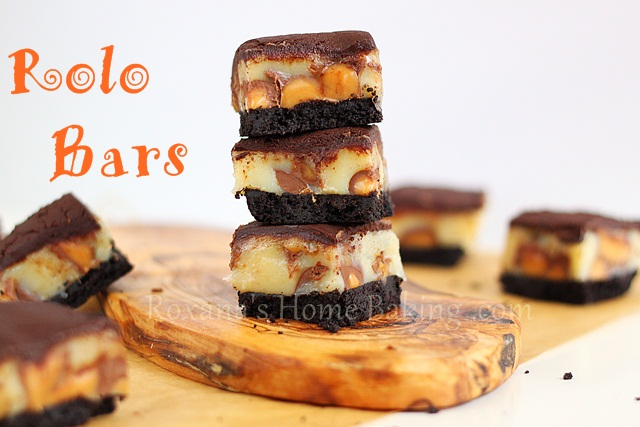 Ooey gooey chocolate caramel rolo bars