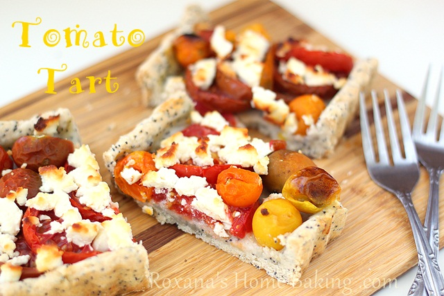 Tomato tart with poppy seed crust and goat cheese