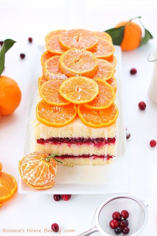 Light and refreshing Citrus Cranberry Layer Cake Recipe from Roxanashomebaking.com