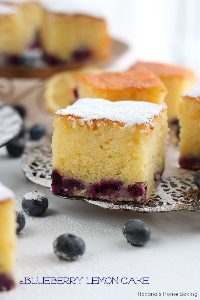 Blueberry lemon cake recipe from Roxanashomebaking.com Delicious, sweet and light, blueberry cake soaked in a lemon syrup overnight to infuse the citrus flavors, making it the perfect summer cake.