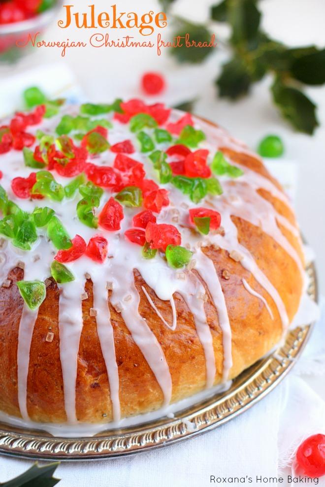 Julekage - Norwegian Christmas fruit bread