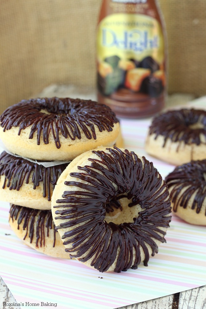 Chocolate glazed baked donuts