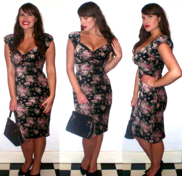 Collectif winter floral Dolores wiggle dress