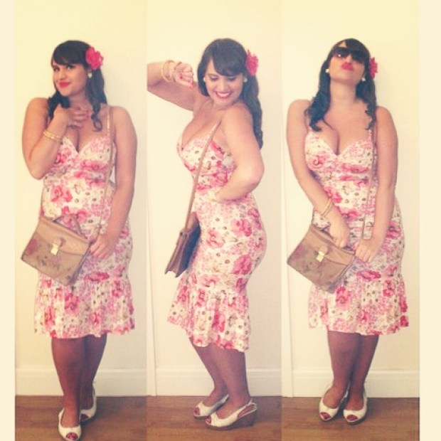 Roxy Vintage Style pink floral Stop Staring dress