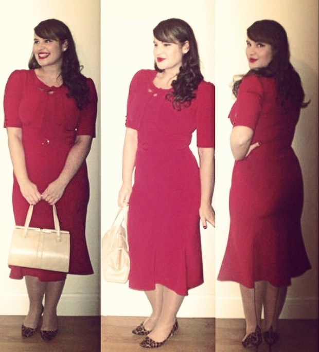 Roxy Vintage Style red 1940s Stop Staring dress