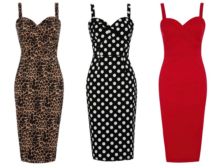 pinup style pencil dresses 1950s