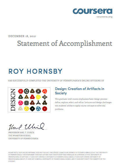 roy cert we successfully completed the design course