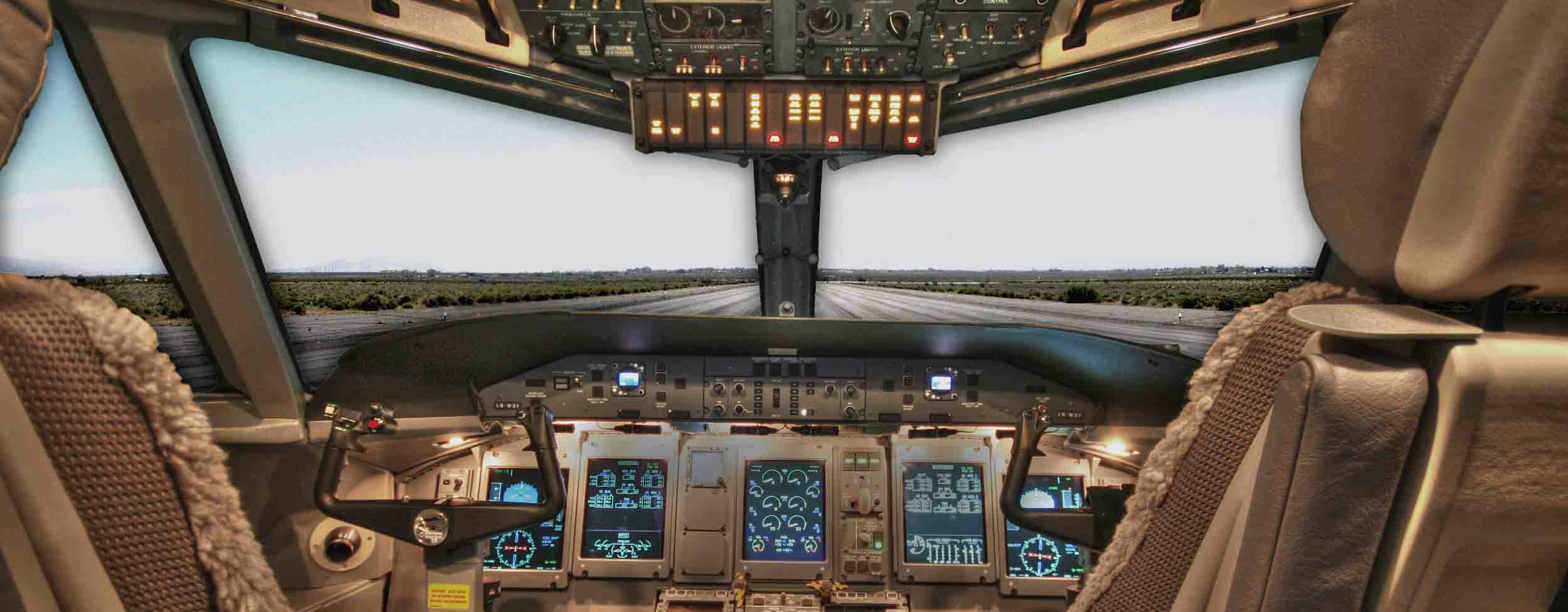 An airplane cockpit