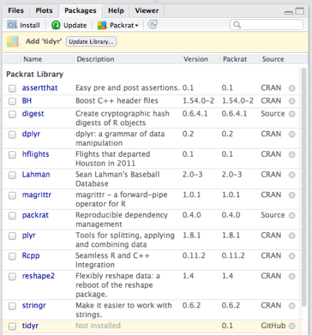 Packrat RStudio package pane integration