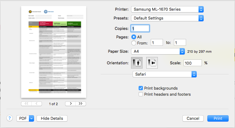 2 Make Sure The Option Print Backgrounds Is Checked