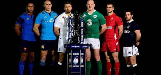 RBS Six Nations Launch...LONDON, ENGLAND - JANUARY 28:  (L-R) Thierry Dusautoir of France, Sergio Parisse of Italy, Chris Robshaw of England, Paul O'Connell of Ireland, Sam Warburton of Wales and Greig Laidlaw of Scotland  pose with the trophy during the launch of the 2015 RBS Six Nations at the Hurlingham club on January 28, 2015 in London, England.  (Photo by Stu Forster/Getty Images)