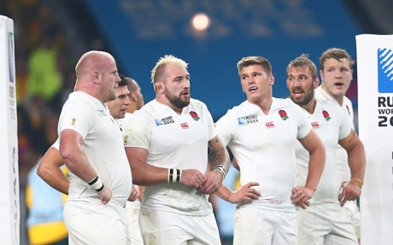 Mandatory Credit: Photo by Matthew Impey/REX Shutterstock (5212691bp) England players underneath the posts. England v Australia, Rugby World Cup, Rugby Union, Twickenham, Britain - 10/03/2015