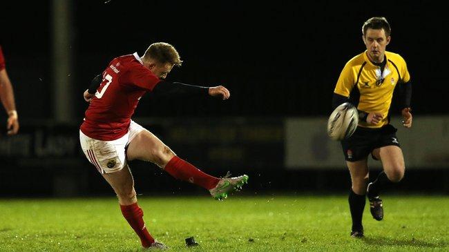 British & Irish Cup, Kinsale RFC, Cork 20/11/2015 Munster A vs Yorkshire Carnegie Munster's Rory Scannell kicks a penalty Mandatory Credit ©INPHO/Ryan Byrne