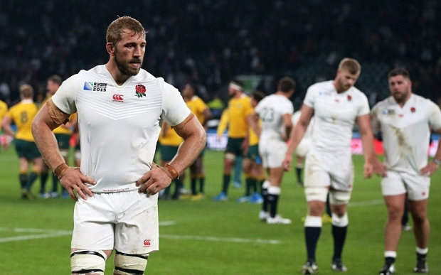 LONDON, ENGLAND - OCTOBER 03: Captain Chris Robshaw of England walks off dejected during the 2015 Rugby World Cup Pool A match between England and Australia at Twickenham Stadium on October 3, 2015 in London, United Kingdom. (Photo by David Rogers/Getty Images) ***BESTPIX***