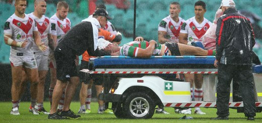 SYDNEY, AUSTRALIA - MARCH 20:  Sam Burgess of the Rabbitohs is taken from the field on a media cab during the round three NRL match between the St George Dragons and the South Sydney Rabbitohs at Sydney Cricket Ground on March 20, 2016 in Sydney, Australia.  (Photo by Mark Kolbe/Getty Images)