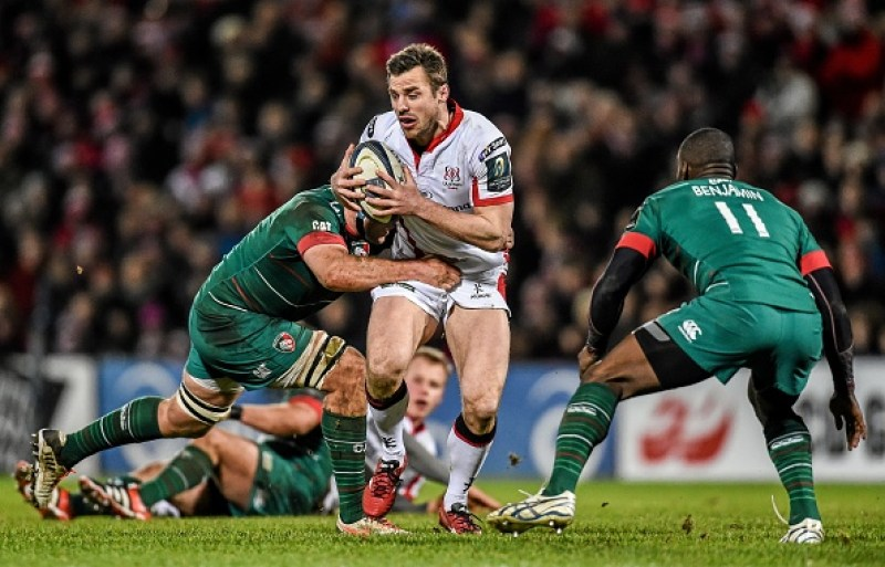 24 January 2015; Tommy Bowe, Ulster, is tackled by Graham Kitchener, Leicester Tigers. European Rugby Champions Cup 2014/15, Pool 3, Round 6, Ulster v Leicester Tigers, Kingspan Stadium, Ravenhill Park, Belfast, Co. Antrim. Picture credit: Ramsey Cardy / SPORTSFILE (Photo by Sportsfile/Corbis via Getty Images)