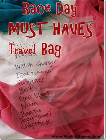 race day must haves travel bag marathon half marathon training thumb Quick Tip: MUST HAVE Race Day Travel Bag