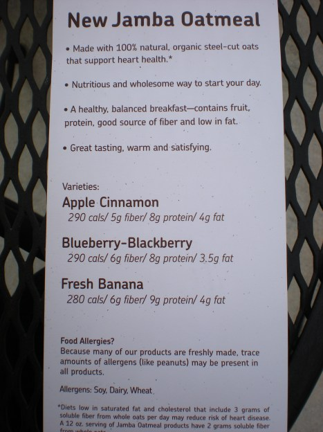 wedding information 066 Jamba Juice Oatmeal Review