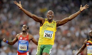 Jamaican runner celebrates after winning a race