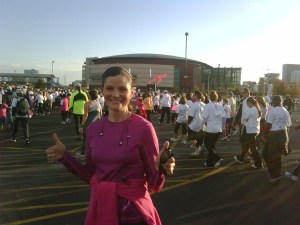After my first ever 5K race, October 2009. Five weeks after having completed thyroid cancer treatments