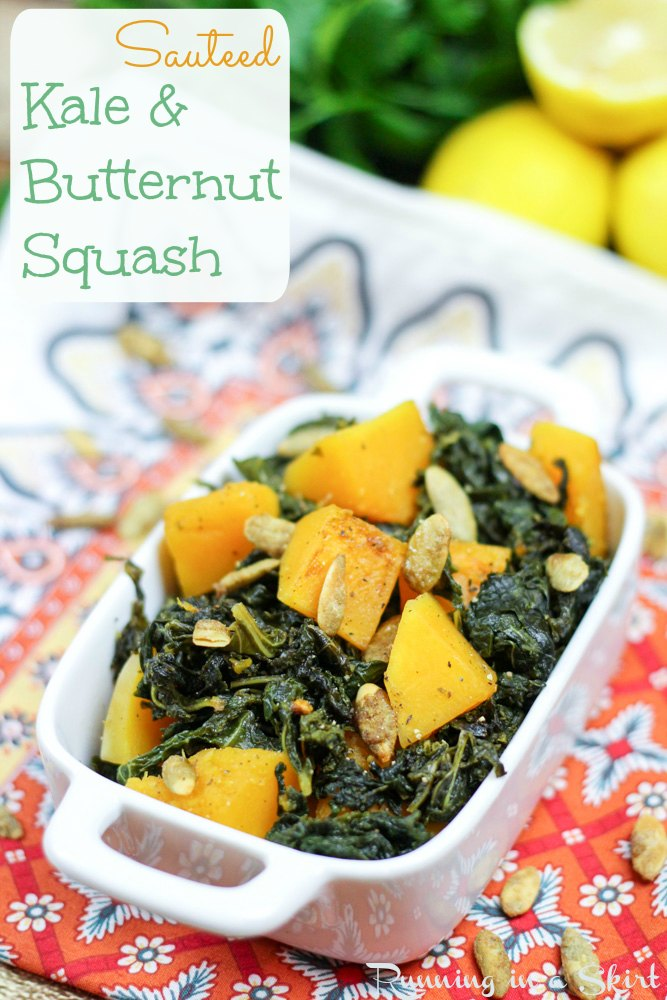 Sauteed Kale and Butternut squash, topped with pumpkin spice pumpkin ...