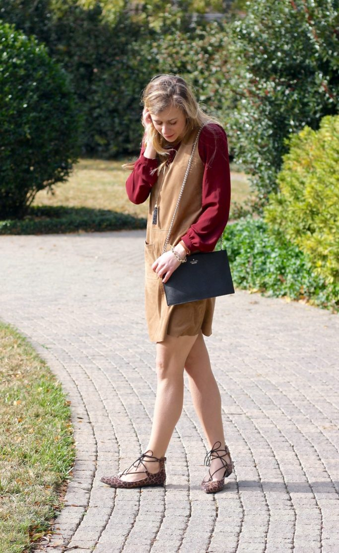 Lace-up Flats and a suede dress