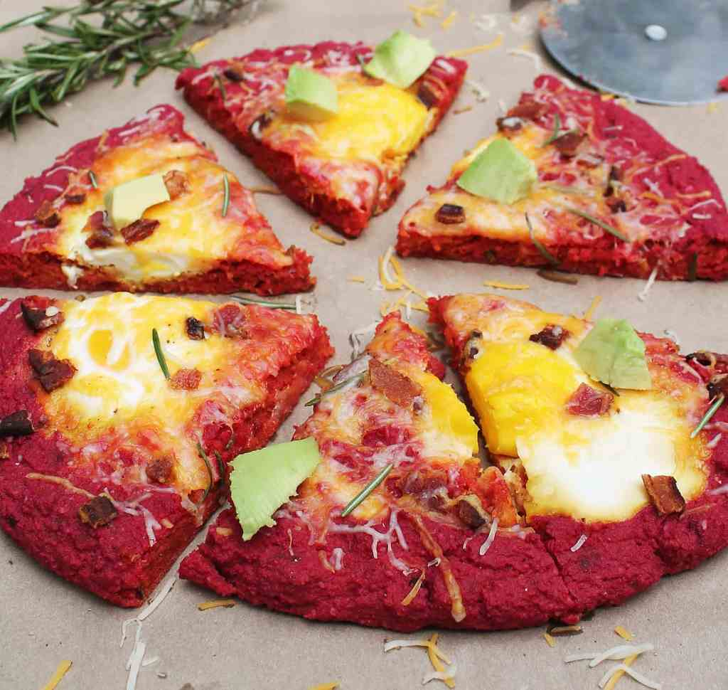 beet crust breakfast pizza with rosemary and eggs and bacon
