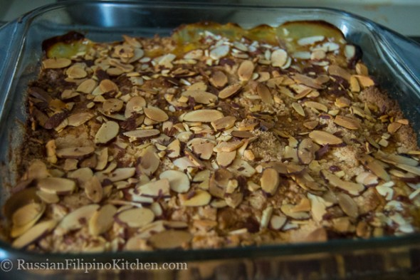 Super Easy Peach Cobbler With Almonds