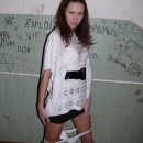 Amazing russian teen girl posing at porch and at home