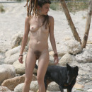 Crazy russian teen with very hairy pussy at beach