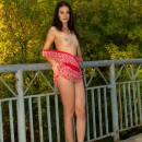 Sexiest russian brunette teen posing naked at public park