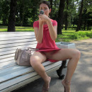 Brunette with very big pussy lips at public