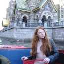Very hot and young russian redhead floating on pleasure boat naked