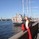 Very sweet redhead teen shows her goods at public boat