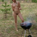 Hot russian blonde cooks BBQ with no clothes