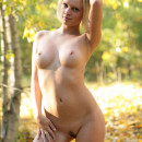 Short haired blonde with great boobs in autumn forest