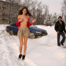 Skinny russian babe loves to show her big pussy to strangers
