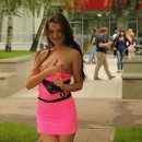 Russian girl in pink dress flashes at public