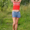 Young russian babe Sofy B with sporty body in the woods
