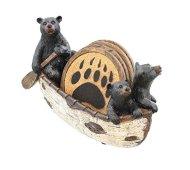 3 Black Bears Canoeing Coaster Set – 4 Coasters Rustic Cabin Canoe Cub Decor