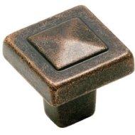 Amerock BP4429RBZ Forgings Pyramid Square Knob, Rustic Bronze, 1-1/8-Inch