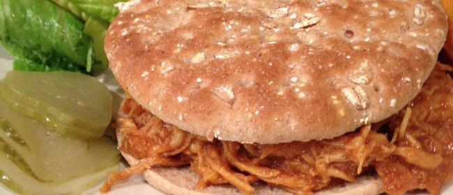 Slow Cooked BBQ Shredded Chicken Sandwiches